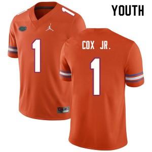Youth #1 Brenton Cox Jr. Florida Gators College Football Jerseys Orange 797018-774