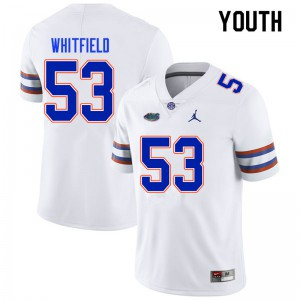 Youth #53 Chase Whitfield Florida Gators College Football Jerseys White 394371-196