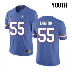 Youth #55 Hayden Knighton Florida Gators College Football Jerseys Blue 597026-337