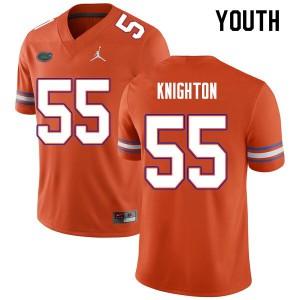 Youth #55 Hayden Knighton Florida Gators College Football Jerseys Orange 912365-547