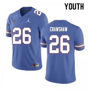 Youth #26 Jeremy Crawshaw Florida Gators College Football Jerseys Blue 682895-345