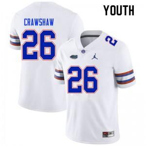 Youth #26 Jeremy Crawshaw Florida Gators College Football Jerseys White 480141-751