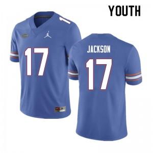Youth #17 Kahleil Jackson Florida Gators College Football Jerseys Blue 588041-479