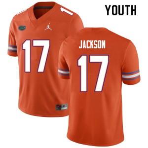 Youth #17 Kahleil Jackson Florida Gators College Football Jerseys Orange 826148-336