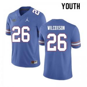 Youth #26 Kamar Wilcoxson Florida Gators College Football Jerseys Blue 845030-980