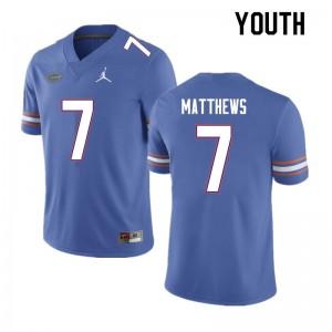 Youth #7 Luke Matthews Florida Gators College Football Jerseys Blue 391454-900