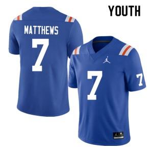 Youth #7 Luke Matthews Florida Gators College Football Jerseys Throwback 145490-477