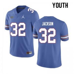 Youth #32 N'Jhari Jackson Florida Gators College Football Jerseys Blue 301148-505