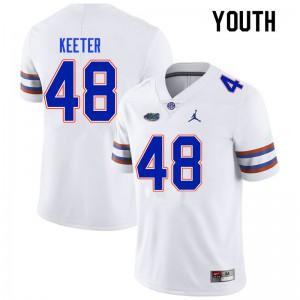 Youth #48 Noah Keeter Florida Gators College Football Jerseys White 294238-791