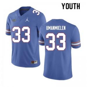 Youth #33 Princely Umanmielen Florida Gators College Football Jerseys Blue 512164-172