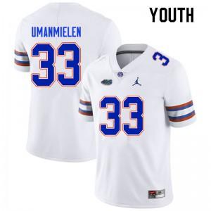 Youth #33 Princely Umanmielen Florida Gators College Football Jerseys White 141976-584
