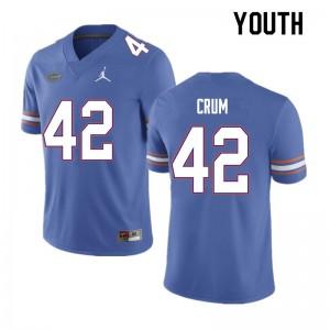 Youth #42 Quaylin Crum Florida Gators College Football Jerseys Blue 601359-988