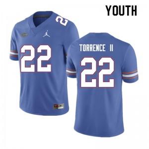 Youth #22 Rashad Torrence II Florida Gators College Football Jerseys Blue 936527-835