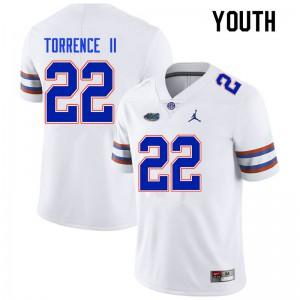 Youth #22 Rashad Torrence II Florida Gators College Football Jerseys White 332536-283