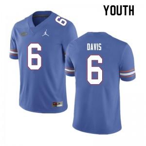 Youth #6 Shawn Davis Florida Gators College Football Jerseys Blue 334313-618
