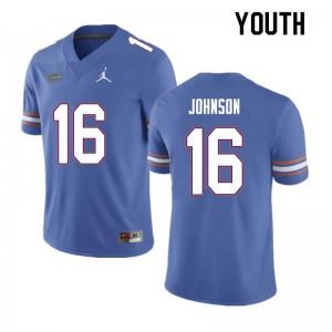 Youth #16 Tre'Vez Johnson Florida Gators College Football Jerseys Blue 530540-326