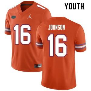 Youth #16 Tre'Vez Johnson Florida Gators College Football Jerseys Orange 933204-927