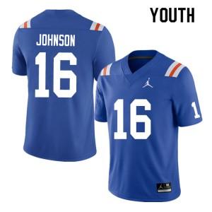 Youth #16 Tre'Vez Johnson Florida Gators College Football Jerseys Throwback 522355-739