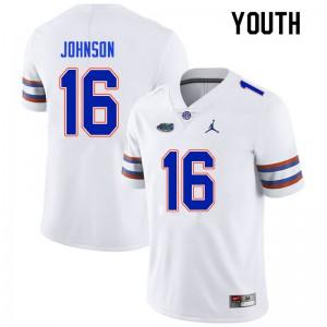 Youth #16 Tre'Vez Johnson Florida Gators College Football Jerseys White 187290-852