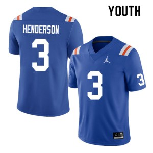 Youth #3 Xzavier Henderson Florida Gators College Football Jerseys Throwback 653803-344