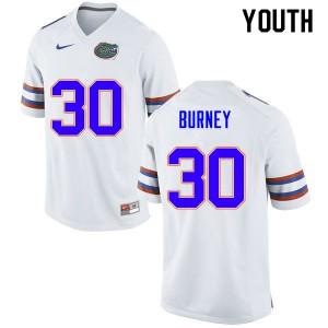 Youth #30 Amari Burney Florida Gators College Football Jerseys White 285536-881