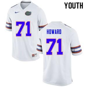 Youth #71 Chris Howard Florida Gators College Football Jerseys White 484545-789