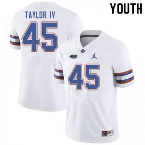 Jordan Brand Youth #45 Clifford Taylor IV Florida Gators College Football Jerseys White 570245-466