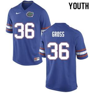 Youth #36 Dennis Gross Florida Gators College Football Jerseys Blue 119867-912