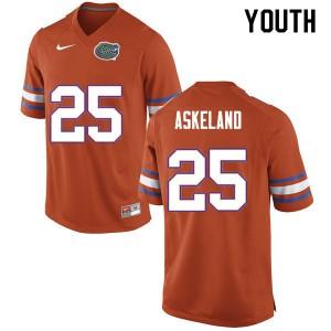 Youth #25 Erik Askeland Florida Gators College Football Jerseys Orange 680111-673