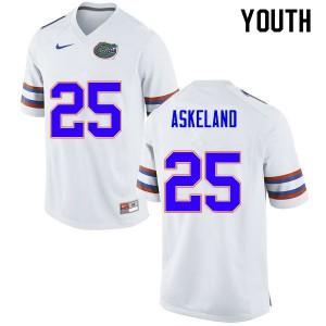 Youth #25 Erik Askeland Florida Gators College Football Jerseys White 177541-558