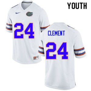 Youth #24 Iverson Clement Florida Gators College Football Jerseys White 583907-265