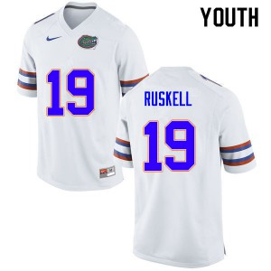 Youth #19 Jack Ruskell Florida Gators College Football Jerseys White 233255-441