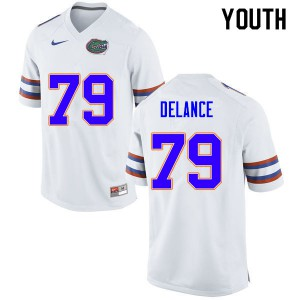 Youth #79 Jean DeLance Florida Gators College Football Jerseys White 958831-111