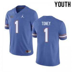 Jordan Brand Youth #1 Kadarius Toney Florida Gators College Football Jerseys Blue 373165-131