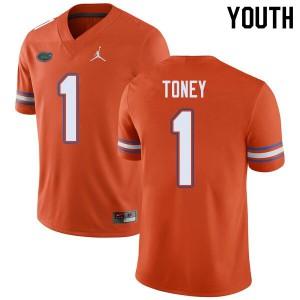 Jordan Brand Youth #1 Kadarius Toney Florida Gators College Football Jerseys Orange 573528-953
