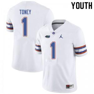 Jordan Brand Youth #1 Kadarius Toney Florida Gators College Football Jerseys White 634646-749