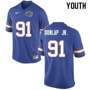Youth #91 Marlon Dunlap Jr. Florida Gators College Football Jerseys Blue 763627-986