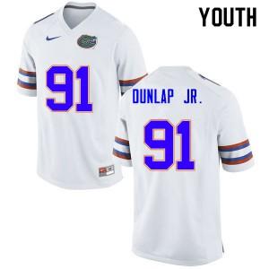 Youth #91 Marlon Dunlap Jr. Florida Gators College Football Jerseys White 309264-136