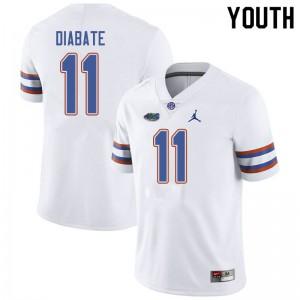 Jordan Brand Youth #11 Mohamoud Diabate Florida Gators College Football Jerseys White 444276-401