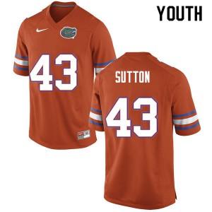Youth #43 Nicolas Sutton Florida Gators College Football Jerseys Orange 514150-385