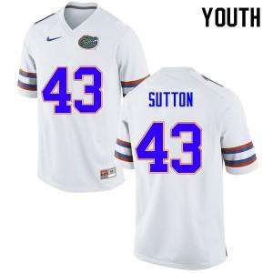 Youth #43 Nicolas Sutton Florida Gators College Football Jerseys White 657295-527