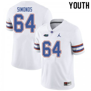 Jordan Brand Youth #64 Riley Simonds Florida Gators College Football Jerseys White 560493-915