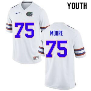 Youth #75 T.J. Moore Florida Gators College Football Jerseys White 281552-712
