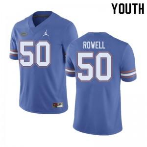 Jordan Brand Youth #50 Tanner Rowell Florida Gators College Football Jerseys Blue 718777-406