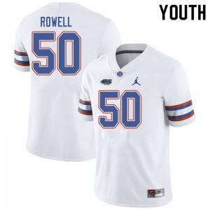 Jordan Brand Youth #50 Tanner Rowell Florida Gators College Football Jerseys White 223288-526