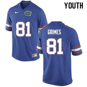 Youth #81 Trevon Grimes Florida Gators College Football Jerseys Blue 594740-295