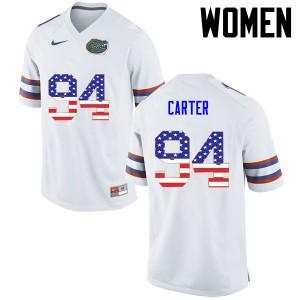 Women Florida Gators #94 Zachary Carter College Football USA Flag Fashion White 764401-440