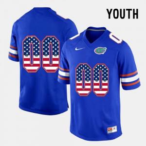 Youth Florida Gator #00 US Flag Fashion Customized Jerseys Blue 955363-865