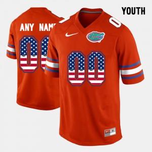 Youth Florida Gator #00 US Flag Fashion Customized Jerseys Orange 306862-785