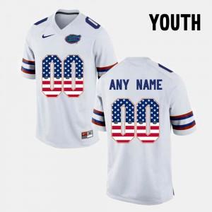 Youth Florida Gator #00 US Flag Fashion Custom Jerseys White 378125-204